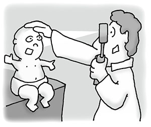 Examining a child's eye