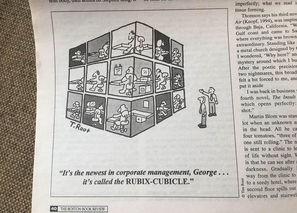 Cartoon of Rubix Cubicle from the Boston Book Review